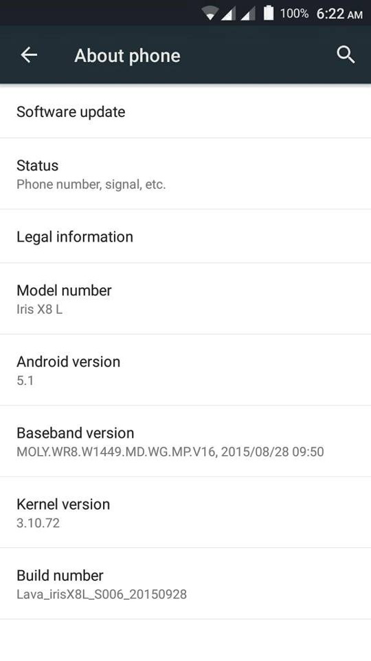 Lava Iris X8 Android 5.1 Lollipop
