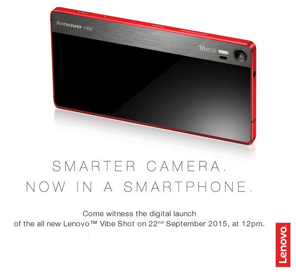 Lenovo Vibe Shot launching in India on September 22