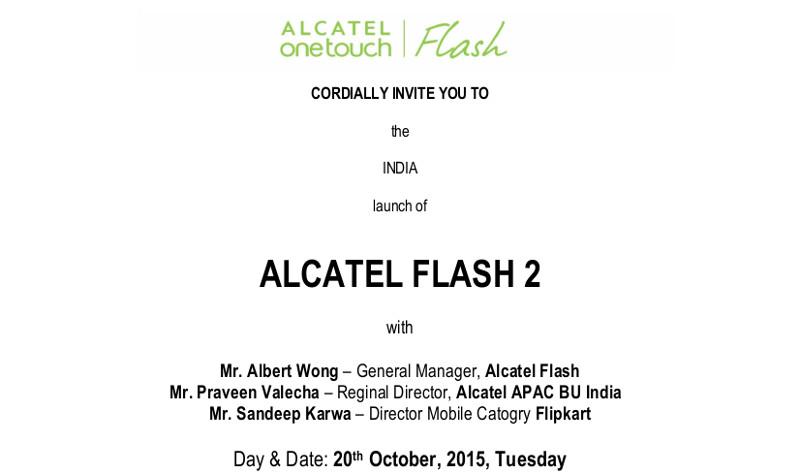 Alcatel Flash 2 India launch invite