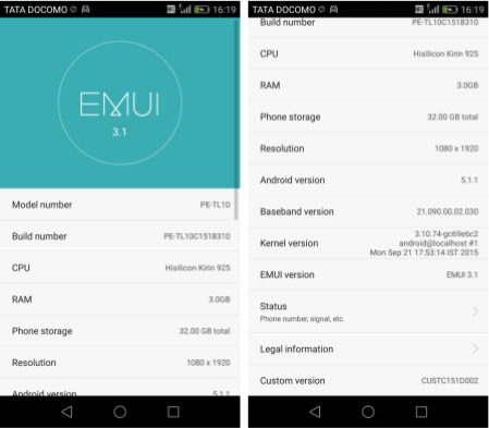 Huawei Honor 6 Plus Android 5.1.1 with EMUI 3.1