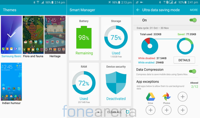 Samsung Galaxy J2 Themes, Smart Manager and Ultra data saving mode