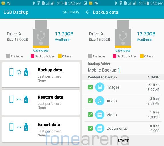 Samsung Galaxy J2 USB Backup