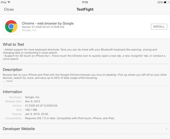 Chrome-beta-iOS-app