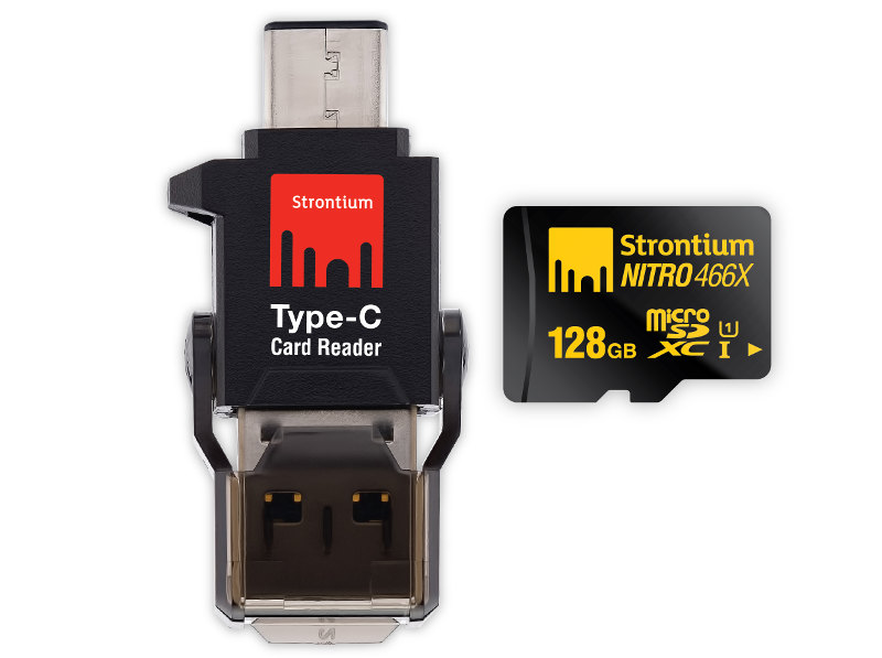 Strontium 128GB NITRO microSD with Type-C Card Reader