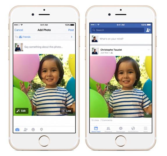 Live-Photos fb ios app