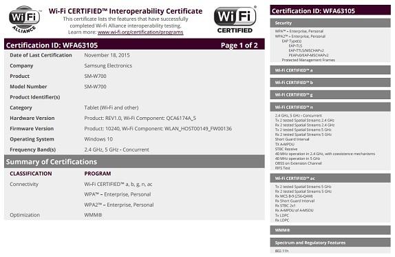 Samsung tablet Wifi certificate