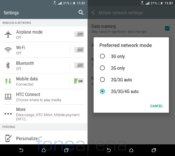 HTC One A9 Connectivity