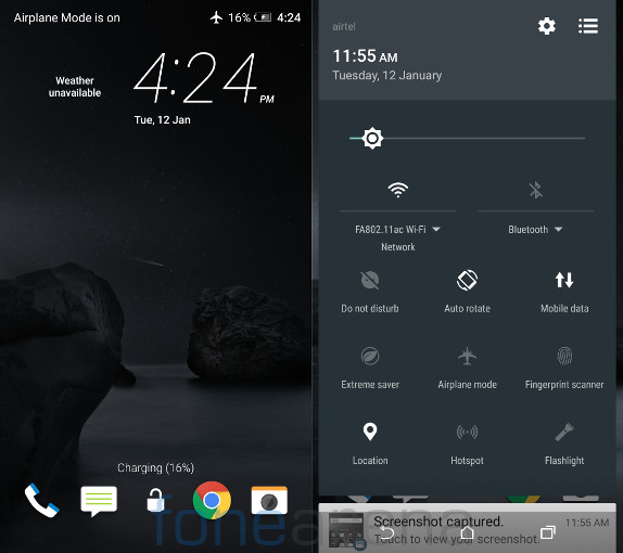 HTC One A9 Lockscreen and Quick settings