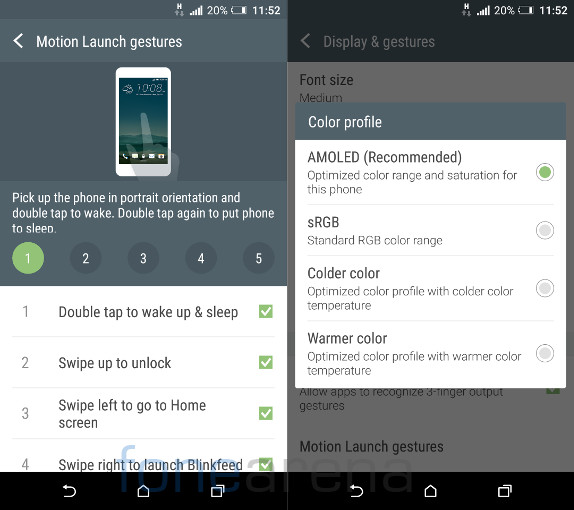 HTC One A9 Motion gestures and Display color profile