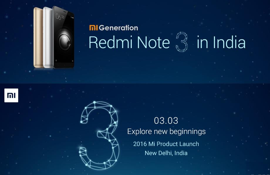 Xiaomi Redmi Note 3 India launch invite