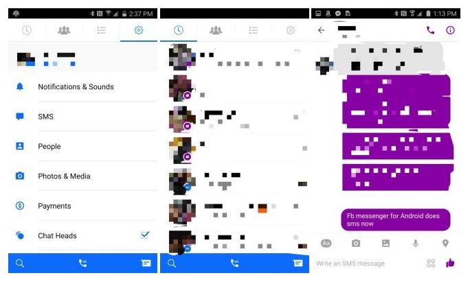 fb messenger sms integration