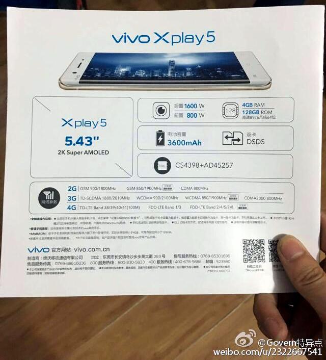 vivo Xplay5 specs leak
