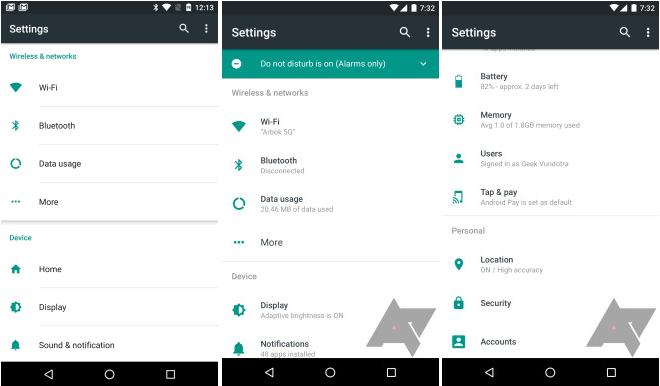 Android N Seettings UI