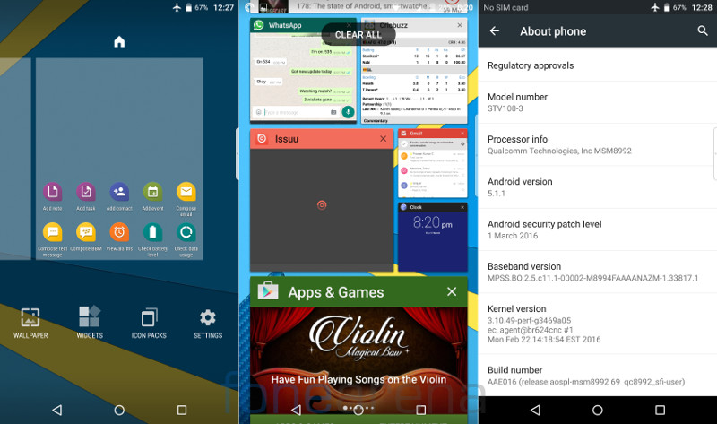 BlackBerry Priv Home, Multitasking and About