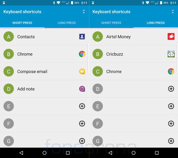 BlackBerry Priv Keyboard shortcuts