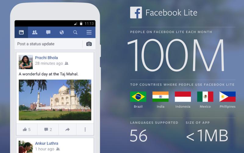 Facebook Lite India 100 million