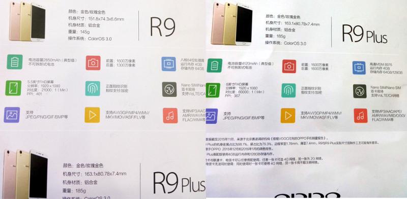 OPPO R9 and R9 Plus specs leak