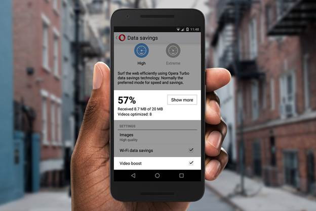 Opera Mini 15 for Android Video Boost
