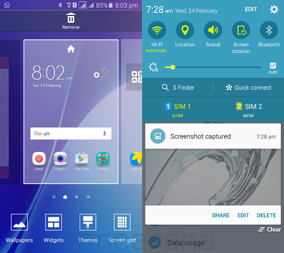Samsung Galaxy A5 2016 Home and Notification