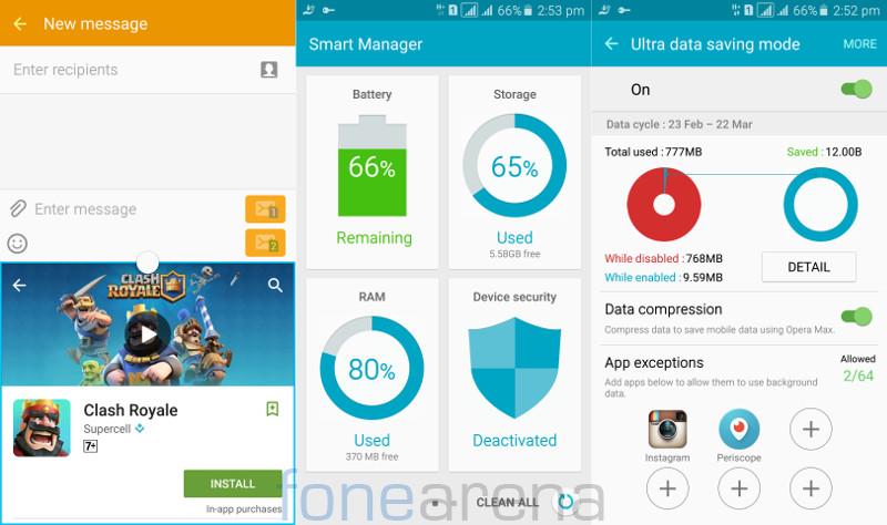 Samsung Galaxy A5 2016 Multiwindow, Smart Manager and Ultra Dava Saving