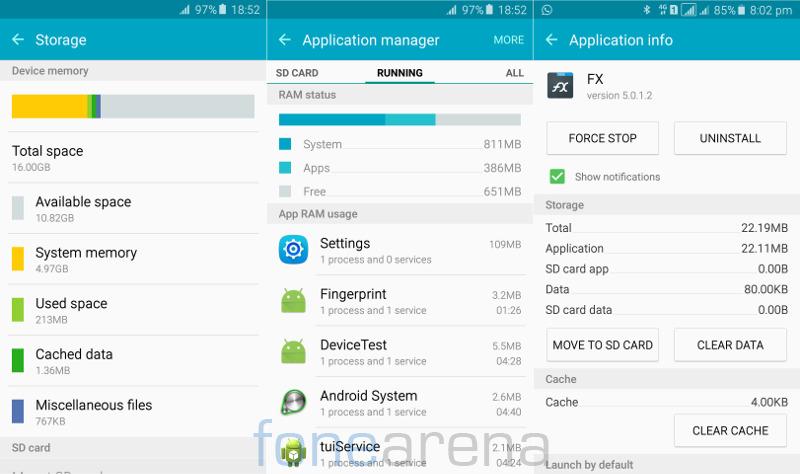 Samsung Galaxy A5 2016 RAM, Internal storage and Move to SD