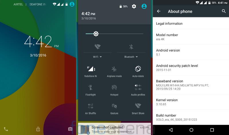 Xolo Era 4K Lockscreen,Notification and about