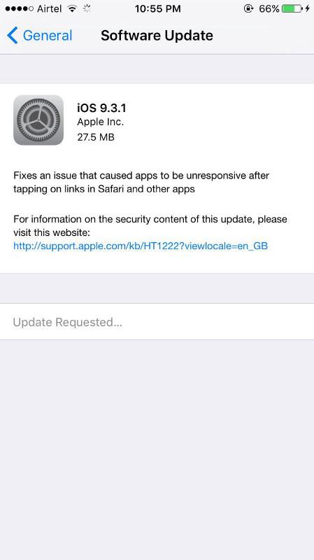 Apple releases iOS 9 3 1 to fix unresponsive hyperlinks in Safari