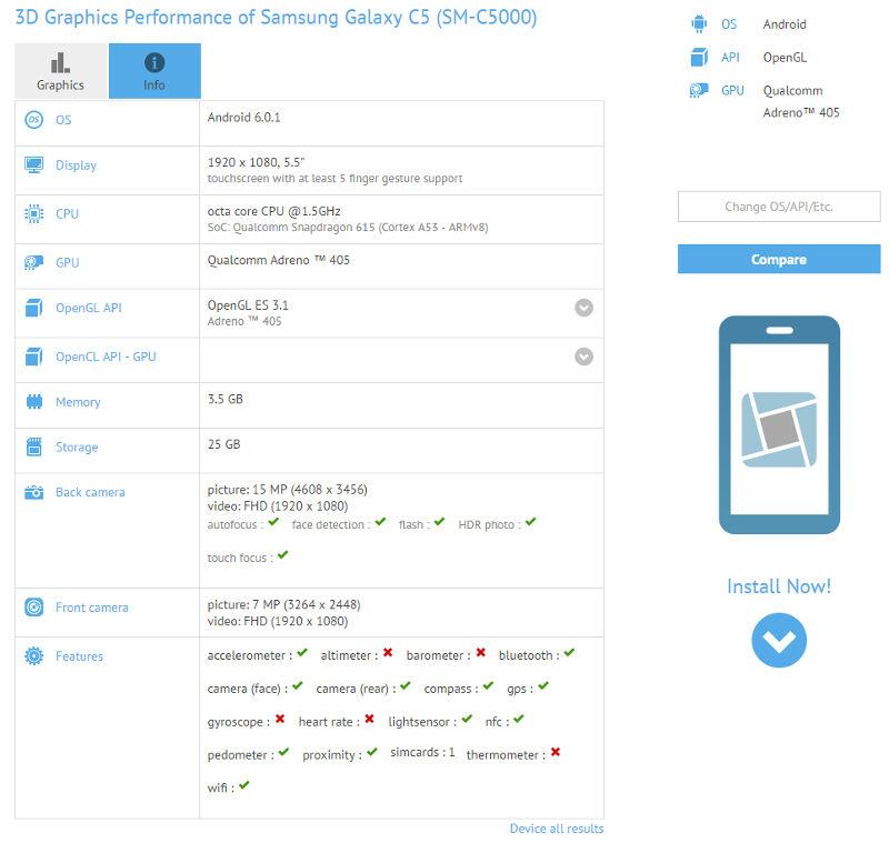 Samsung Galaxy C5 SM-C5000 GFXBench leak