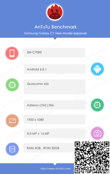 Samsung Galaxy C7 SM-C7000 with Snapdragon 625, 4GB RAM