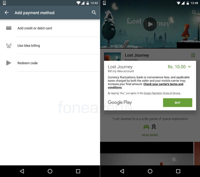 Google Play Idea carrier billing