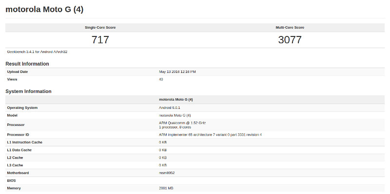 Moto G4 Geekbench leak