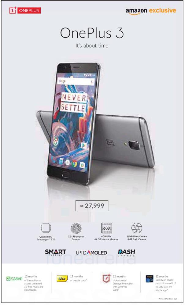 OnePlus 3 India price