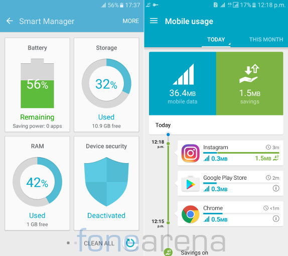 Samsung Galaxy J7 2016 Smart Manager and Ulrta Data Saving