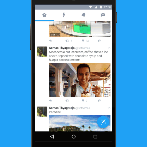 Twitter for Android revamped with navigation menu, floating tweet