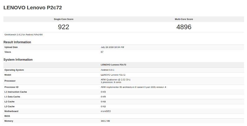 Lenovo P2c72 Geekbench