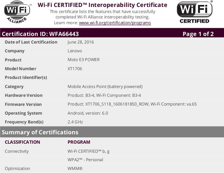 Moto E3 Power WiFi certificate