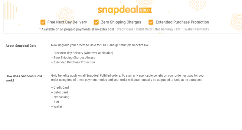 ba2f601ed48 Snapdeal Gold with next day free delivery