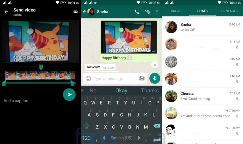 WhatsApp for Android Videos as GIF