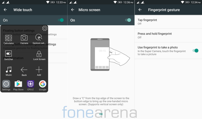 Lenovo Vibe K5 Note wide touch, micro screen and fingerprint gesture