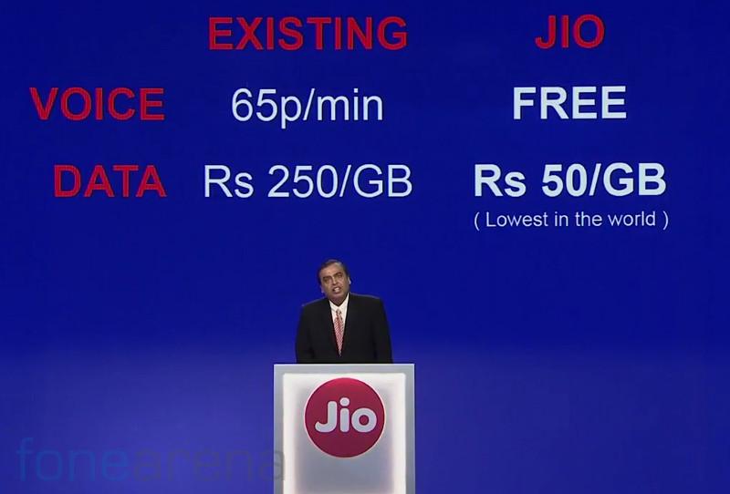 Reliance Jio 4G Data tariffs