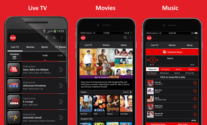 Vodafone offers Play app with Live TV, Movies, Music free