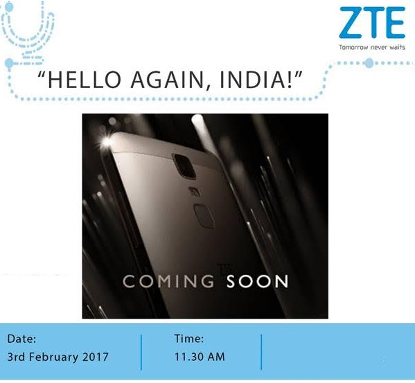 ZTE India smartphone launch invite Feb 3 2017