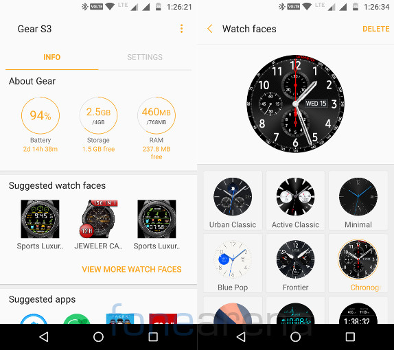 Samsung Gear S3 Classic Gear Home and Watch Faces