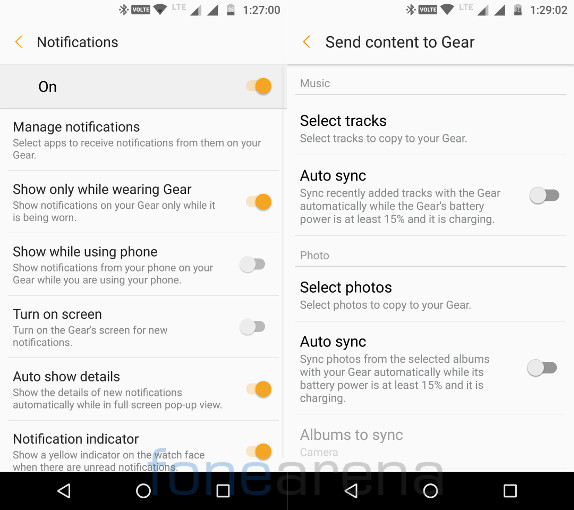 Samsung Gear S3 Classic Gear Notifications and Send to Gear