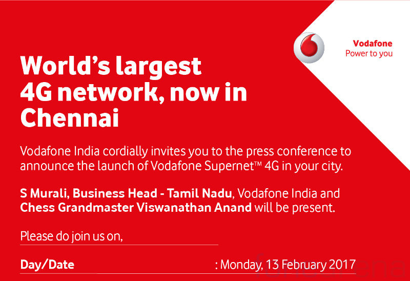 Vodafone 4G launch Chennai invite