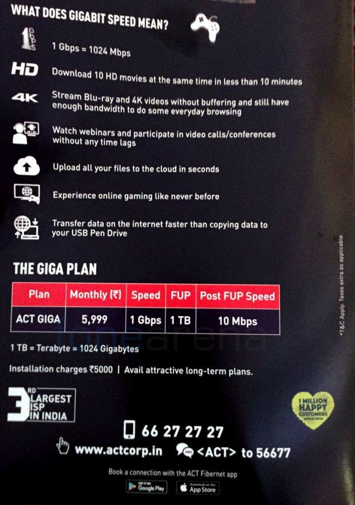 ACT 1Gbps plan Hyderabad