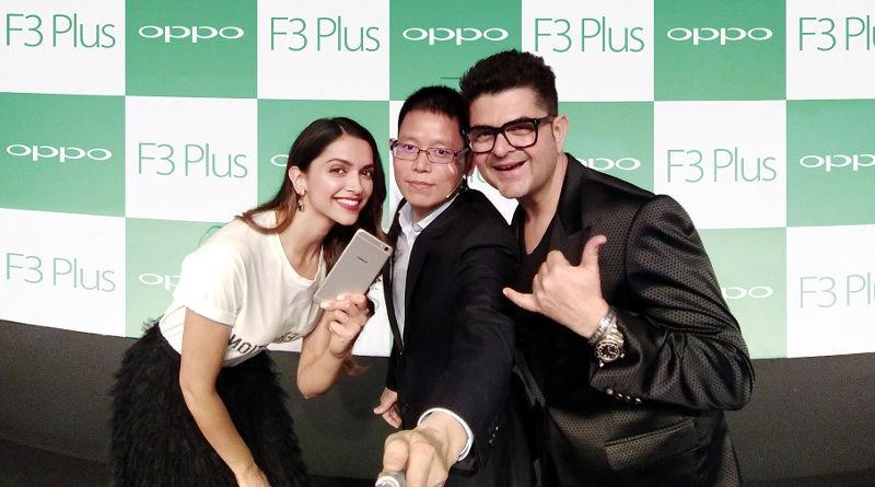 OPPO F3 Plus Deepika Padukone, Dabboo Ratnani with Sky Li