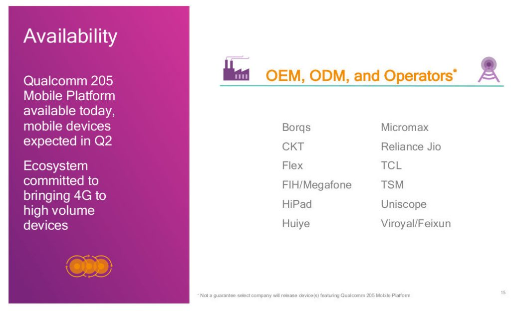 Qualcomm 205 Mobile Platform Availability and Partners