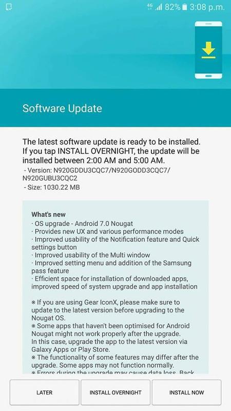 Samsung Galaxy Note5 Android 7.0 Nougat India