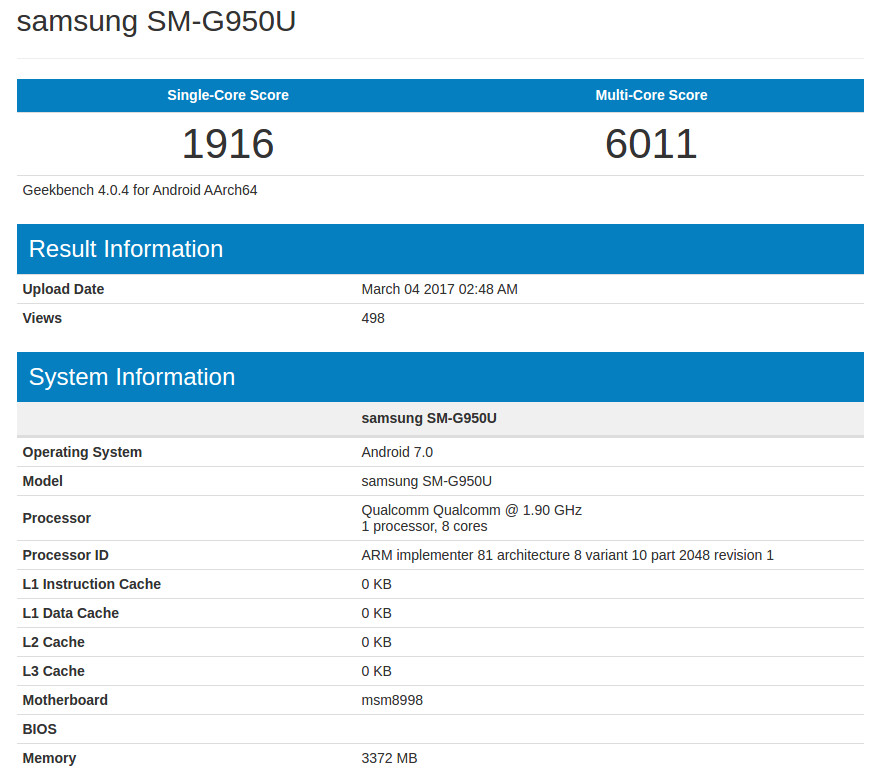 Samsung Galaxy S8 Geekbench leak